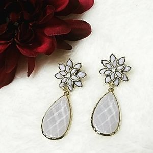Gorgeous Shimmer Grey/Platinun Drop Earrings